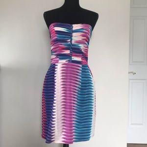 Charlie Jade Strapless Silk Dress Size Medium